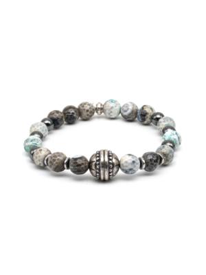 Man Bracelet Grey Beads